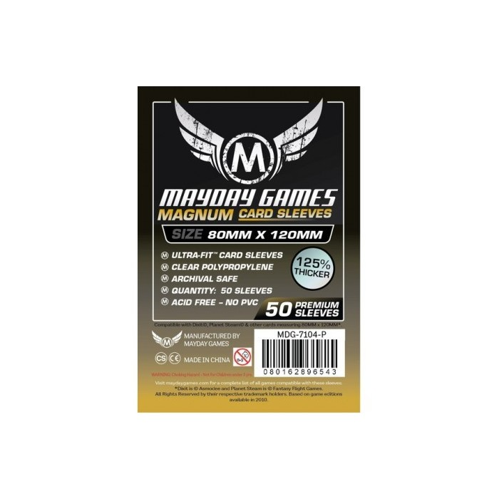 Protectores Mayday Games Magnum Ultra-Fit Negro 50 / 80X120 mm